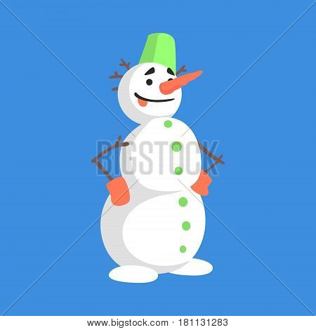 Alive Classic Three Snowball Snowman With Green Bucket On The Head And Gloves Cartoon Character Situation. Funny Childish Humanized Snow Sculpture Isolated Flat Vector Illustration On Blue Background.