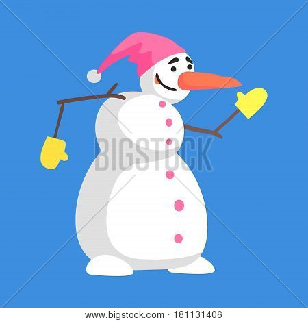 Alive Classic Three Snowball Snowman In Pink Hat And Gloves Cartoon Character Situation. Funny Childish Humanized Snow Sculpture Isolated Flat Vector Illustration On Blue Background.