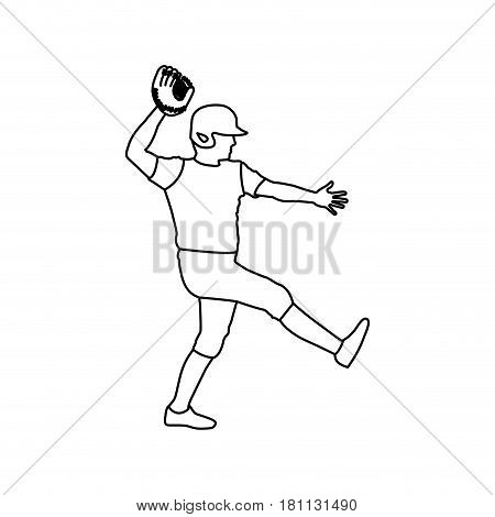 monochrome contour of baseball pitcher vector illustration