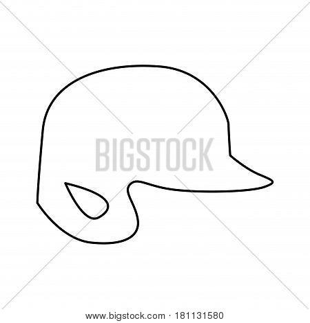 monochrome contour of baseball helmet vector illustration