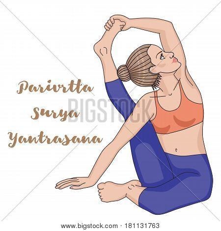 Women silhouette. Compass Yoga Pose. Parivrtta Surya Yantrasana. Vector illustration