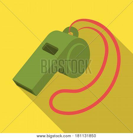 Whistle football fan.Fans single icon in flat  vector symbol stock illustration.