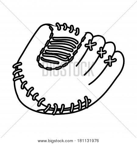 monochrome contour of baseball glove vector illustration