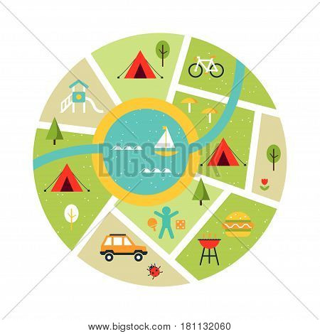 Illustrated Map of Campsite. Travelling, Camping and Oudoor Symbols. Vector Art
