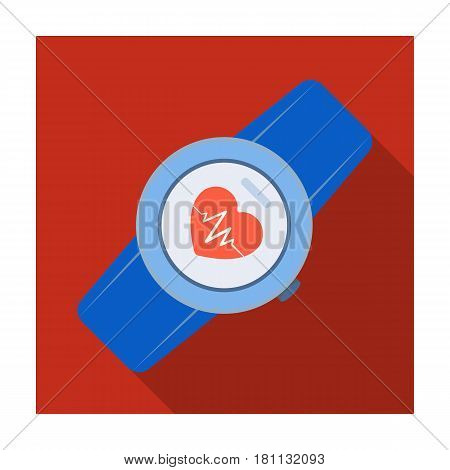 Sports wrist watch with heart rate measurement. Watch for athletes .Gym And Workout single icon in flat style vector symbol stock web illustration.