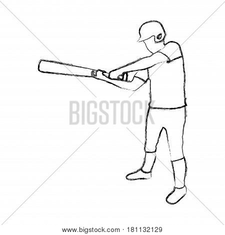 monochrome sketch of baseball player with baseball bat vector illustration