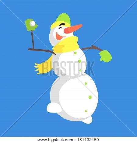 Alive Classic Three Snowball Snowman In Yellow Scarf Playing Snowballs Cartoon Character Situation. Funny Childish Humanized Snow Sculpture Isolated Flat Vector Illustration On Blue Background.
