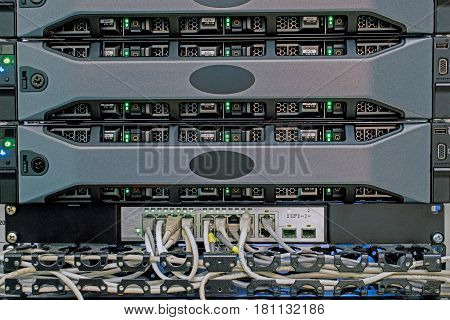 Powerful computer server connected to internet switch in the server room