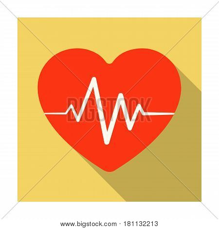 Red heart with pulse.The heart rate of the athlete .Gym And Workout single icon in flat style vector symbol stock web illustration.