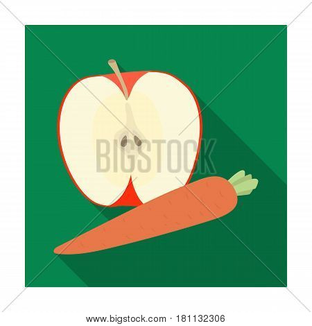 An Apple and a carrot. Healthy eating for athletes.Gym And Workout single icon in flat style vector symbol stock web illustration.