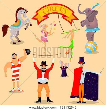 Circus vintage pictograms set arrangement Travelling chapiteau circus magical show