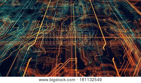 Circuit board futuristic server code processing. Orange green blue technology background/Printed circuit board futuristic server