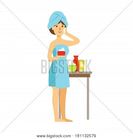Woman in bath towel is applying cream on her face and beauty and holding cream in her hand. Skincare treatments. Colorful cartoon character isolated on a white background