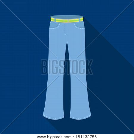 Blue jeans with a belt.Hippy single icon in flat style vector symbol stock illustration .