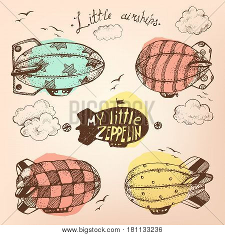 Hand drawn vector vintage collection of cute little airchips with strips, stars, dots and squares in the sky. Zeppelin, birds and clouds. Retro old yellow colors