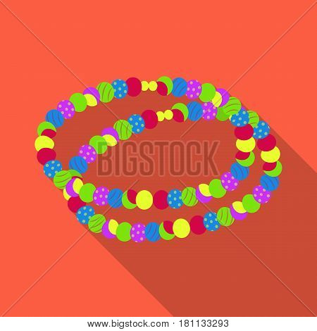 Colored beads.Hippy single icon in flat style vector symbol stock illustration .