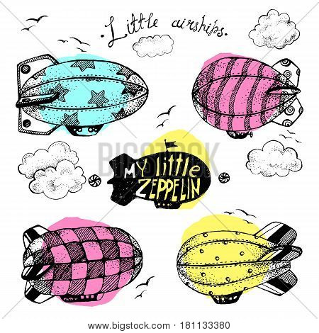 Hand drawn vector vintage collection of cute little airchips with strips, stars, dots and squares in the sky. Zeppelin, birds and clouds. Bright modern colors