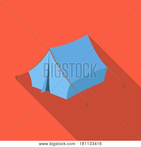 Blue tent with pegs.Hippy single icon in flat style vector symbol stock illustration .