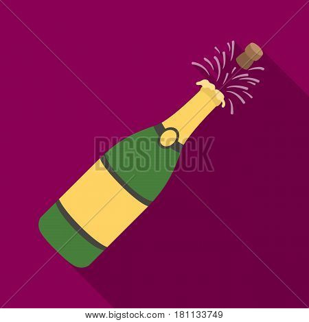 A bottle of champagne with a cork.Party and parties single icon in flat style vector symbol stock web illustration.