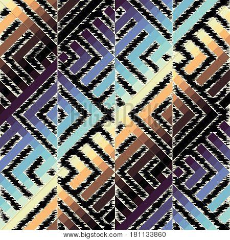 Seamless geometric diagonal pattern, based on ikat fabric style.