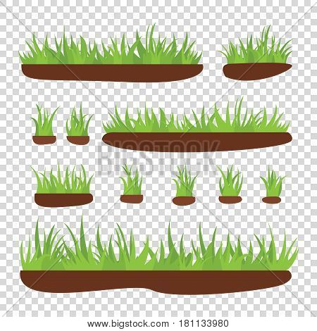 Tufts of grass with earth on a transparent background. Vector illustration.