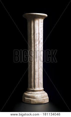 Classic style column on black background. Clipping path