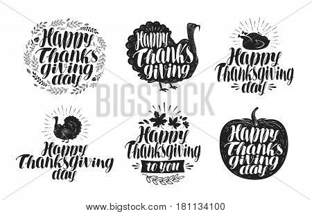 Happy Thanksgiving, label set. Holiday icons or symbols. Lettering, vector illustration isolated on white background