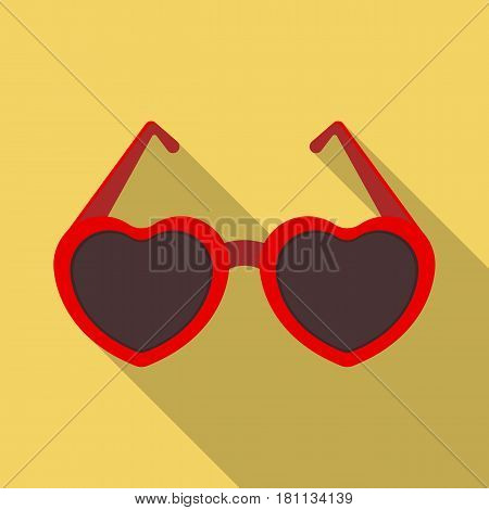 Glasses in the form of the heart.Party and parties single icon in flat style vector symbol stock web illustration.