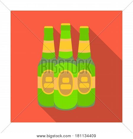 Green glass beer bottles. Alcoholic drink pub. Pub single icon in flat style vector symbol stock web illustration.