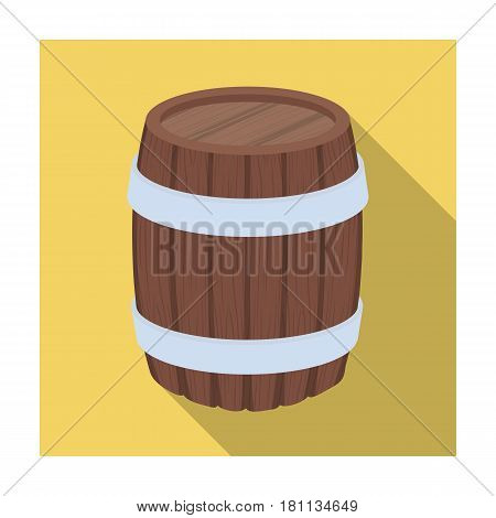 Oak barrel beer. A barrel in which beer is brewed. Pub single icon in flat style vector symbol stock web illustration.