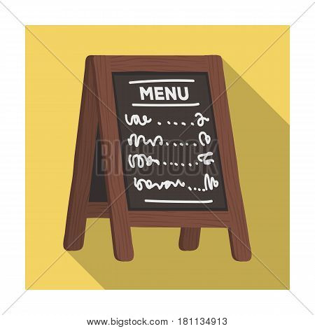 Street bar menu.A sign with the tasty dishes in the street. Pub single icon in flat style vector symbol stock web illustration.