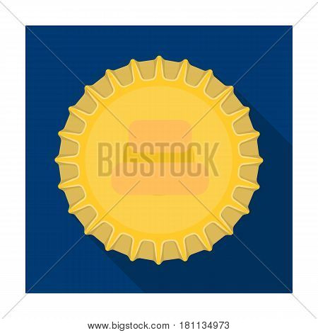 Metal beer cap.Lid for closing bottles . Pub single icon in flat style vector symbol stock web illustration.