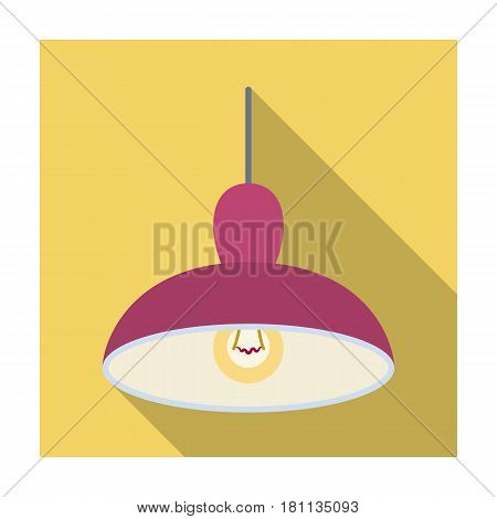 Chandelier with light bulb. The light in the bar. Pub single icon in flat style vector symbol stock web illustration.