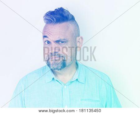 Man Squint Eye Curious Suspicioius Squinting