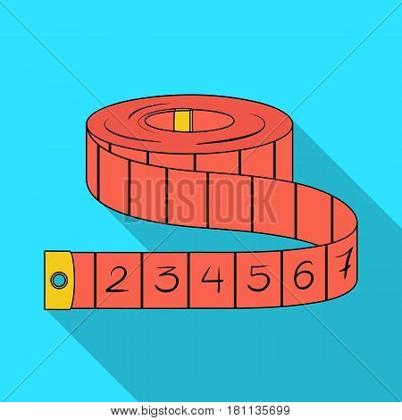 Red Roulette Seamstresses.Sewing or tailoring tools kit single icon in flat style vector symbol stock web illustration.