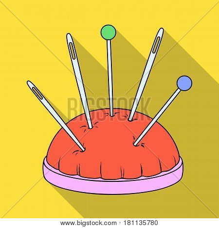 Pillow for needles.Sewing or tailoring tools kit single icon in flat style vector symbol stock web illustration.