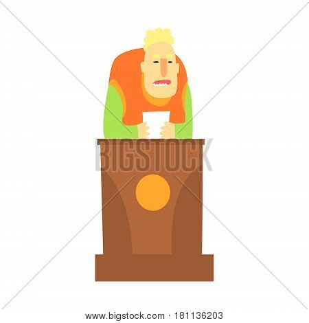 A man standing behind the tribune and holding a paper in his hands, a colorful character isolated on a white background