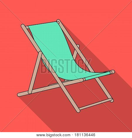 The seat for sunbathing on the beach.Summer rest single icon in flat style vector symbol stock web illustration.