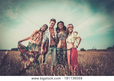 Multinational hippie friends in a wheat field