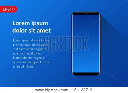 Phone, mobile smartphone design composition isolated on blue background template. Realistic vector illustration mockup phone for banner or advertising.
