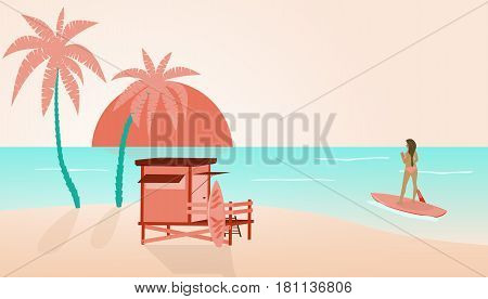 Summer at the beach. Cabin and palms and a girl in bikini doing stand up paddle with surfboard in the ocean.