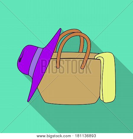 Beach bag with hat.Summer rest single icon in flat style vector symbol stock web illustration.