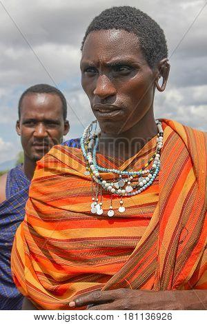 Africa Tanzania - February 2016: Masai man posing in national clothes