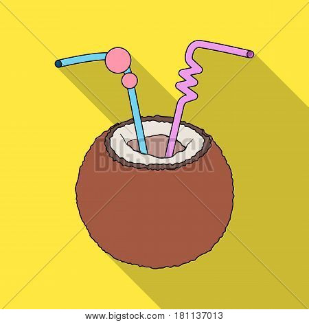 A cocktail in coconut with tubes.Summer rest single icon in flat style vector symbol stock web illustration.