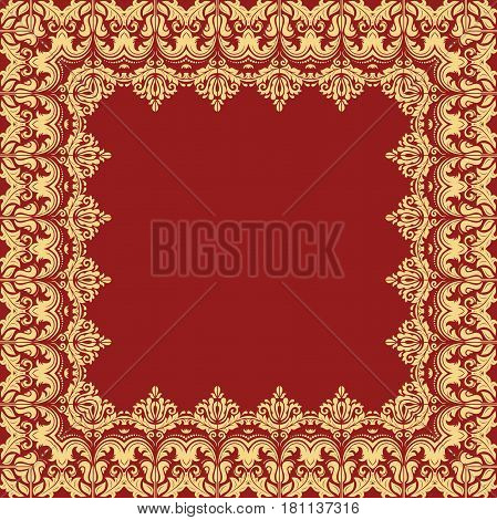 Classic square frame with arabesques and orient elements. Abstract fine red and golden ornament with place for text