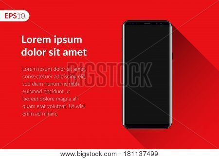 Phone, mobile smartphone design composition isolated on red background template. Realistic vector illustration mockup phone for banner or advertising.