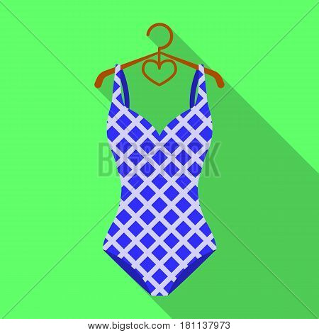 Blue and white swimsuit for competitive swimming. Swimsuit with checkered pattern.Swimcuits single icon in flat style vector symbol stock web illustration.
