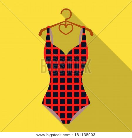 Plaid swimsuit in red and . Underwear for swimming.Swimcuits single icon in flat style vector symbol stock web illustration.