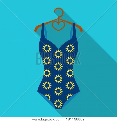 Blue swimsuit with sunflowers. Swimsuit for swimming in the pool.Swimcuits single icon in flat style vector symbol stock web illustration.