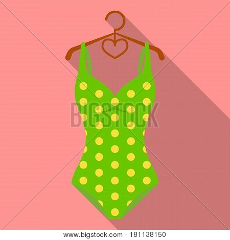 Bright green swimsuit with yellow flowers. Clothes for girls on the beach.Swimcuits single icon in flat style vector symbol stock web illustration.